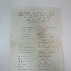 Documentos antiguos: RELACIÓN DE LOS CUADROS DEL MUSEO DEL PRADO QUE SE CUSTODIAN EN EL CABILGO INSULAR DE GRAN CANARIA. Lote 178257258