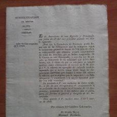 Documentos antiguos: 1826 CIRCULAR DERECHOS ENAGENADOS DE LA CORONA - RENTAS DE VICH . Lote 178266498