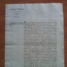 Documentos antiguos: 1826 SOBRE CIRCULAR ARBITRIOS PARA FOMENTAR LA CRIA DE CABALLOS - GOBIERNO MILITAR VICH. Lote 178267528