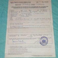 Documentos antiguos: CERTIFICACION EN EXTRACTO DE INSCRIPCION DE NACIMIENTO.NACIDO EN 1928.. Lote 178310115