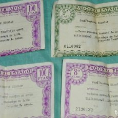 Documentos antiguos: PAGOS AL ESTADO LOTE DE 4 TIMBRES DEL ESTADO 8ª Y 9ª CLASE.RENOVACION PERMISO DE ARMAS.. Lote 178310415