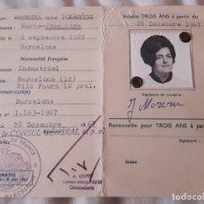 Documentos antiguos: ANTIGUO CARNET DE IDENTIDAD CONSULAR REPÚBLICA FRANCESA AÑO 1967. Lote 178356263