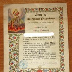 Documentos antiguos: ANTIGUO DOCUMENTO INSCRIPCIÓN EN OBRA DE LAS MISAS PERPETUAS. Lote 178562088