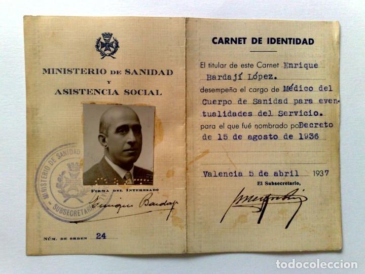 CARNET DE IDENTIDAD DEL MÉDICO D.ENRIQUE BAJARDÍ LÓPEZ,EXPEDIDO 1937,MINISTERIO SANIDAD (DESCRIPCIÓN (Coleccionismo - Documentos - Otros documentos)
