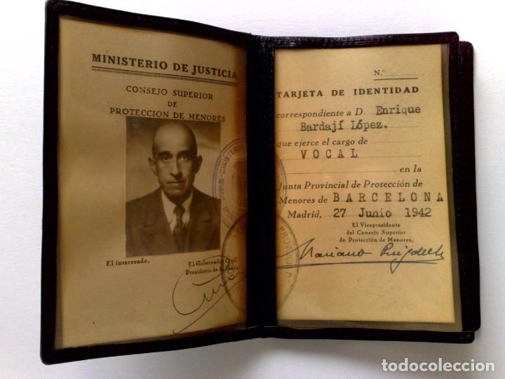 CARNET DE IDENTIDAD,MINISTERIO DE JUSTICIA,PROTECCIÓN DE MENORES (EXP. 1942) MEDICO BAJARDI LOPEZ. (Coleccionismo - Documentos - Otros documentos)