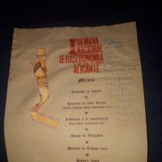 Documentos antiguos: UNICO MENU CHEF CASTILLO PRIMERA SEMANA NACIONAL DE GASTRONOMÍA ALICANTE 1971 LEER DESCRIPCION. Lote 178595757