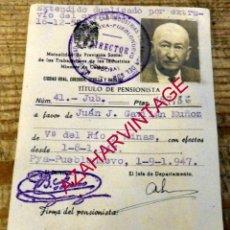 Documentos antiguos: PEÑARROYA PUEBLONUEVO, CORDOBA, ANTIGUO CARNET PENSIONISTA MINAS LA REUNION. Lote 178598090