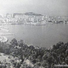 Documentos antiguos: VIGO PONTEVEDRA VISTA DESDE LA GUIA ANTIGUA LAMINA HUECOGRABADO AÑOS 40. Lote 178662573