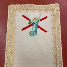 Documentos antiguos: ANTIGUO PAPEL DE CARTA MODERNISTA, PPPP CON RELIEVE. TAMAÑO CUARTILLA ,CROMO TROQUELADO. PPIOS 1900. Lote 178663791