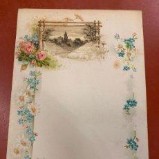 Documentos antiguos: ANTIGUO PAPEL DE CARTA MODERNISTA, CON RELIEVE. TAMAÑO CUARTILLA ,PPIOS 1900. Lote 178671778