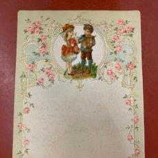 Documentos antiguos: ANTIGUO PAPEL DE CARTA MODERNISTA, CON RELIEVE. TAMAÑO CUARTILLA DOBLE,CROMO TROQUELADO . PPIOS 1900. Lote 178684982