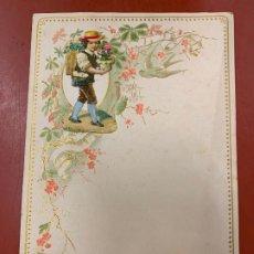 Documentos antiguos: ANTIGUO PAPEL DE CARTA MODERNISTA, CON RELIEVE. TAMAÑO CUARTILLA DOBLE,CROMO TROQUELADO . PPIOS 1900. Lote 178686576