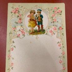 Documentos antiguos: ANTIGUO PAPEL DE CARTA MODERNISTA, CON RELIEVE. TAMAÑO CUARTILLA DOBLE,CROMO TROQUELADO . PPIOS 1900. Lote 178686795
