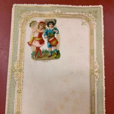 Documentos antiguos: ANTIGUO PAPEL DE CARTA MODERNISTA, CON RELIEVE. TAMAÑO CUARTILLA DOBLE,CROMO TROQUELADO . PPIOS 1900. Lote 178688296