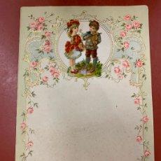 Documentos antiguos: ANTIGUO PAPEL DE CARTA MODERNISTA, CON RELIEVE. TAMAÑO CUARTILLA DOBLE,CROMO TROQUELADO . PPIOS 1900. Lote 178688333