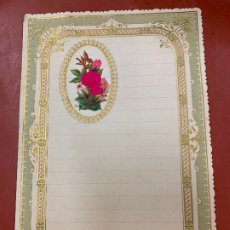 Documentos antiguos: ANTIGUO PAPEL DE CARTA MODERNISTA, CON RELIEVE. TAMAÑO CUARTILLA DOBLE,CROMO TROQUELADO . PPIOS 1900. Lote 178688493