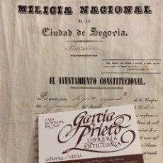 Documentos antiguos: MILICIA NACIONAL DE LA CIUDAD DE SEGOVIA. NOMBRAMIENTO DE SARGENTO SEGUNDO. 1841. Lote 178773348