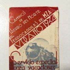 Documentos antiguos: SERVICIOS DE FERROCARRILES DE M.Z.A. CAMINOS DE HIERRO DEL NORTE. MADRID, 1934. . Lote 178774678