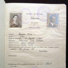 Documentos antiguos: LIBRO DE CALIFICACIÓN ESCOLAR, ENSEÑANZA MEDIA. MINISTERIO DE EDUCACION NACIONAL. I. CASTELLÓN, 1940. Lote 178799445