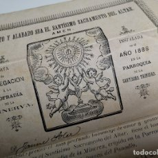 Documentos antiguos: CASTA AGREGACION COFRADIA DE LA MINERVA PARROQUIA SANTISIMA TRINIDAD VILAFRANCA PANADES-PENEDES 1888. Lote 178857152