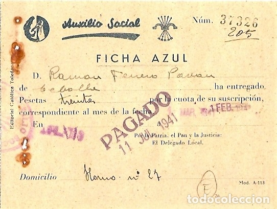 AUXILIO SOCIAL - FICHA AZUL (Coleccionismo - Documentos - Otros documentos)