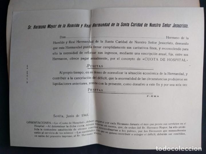 Documentos antiguos: Dos documentos de la Humilde y Real Hermandad de la Santa Caridad. 1944. 1955. - Foto 3 - 178956313