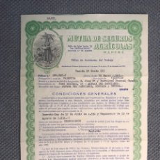 Documentos antiguos: DOCUMENTO. MUTUA DE SEGUROS AGRÍCOLAS M.A.P.F.R.E. BONITA PÓLIZA CON GRABADO SUPERIOR (A.1949). Lote 178957287
