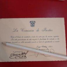 Documentos antiguos: LUGO 1951 INVITACIÓN COMISIÓN DE FIESTAS RESERVA SILLA ACTOS. Lote 178976401