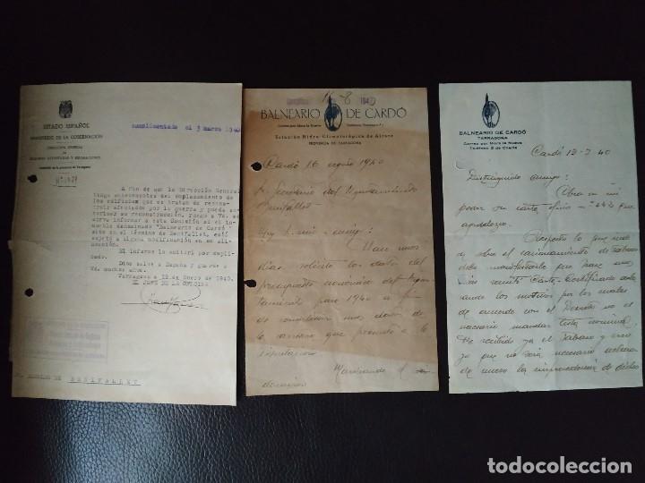 1940 GUERRA CIVIL REGIONES DEVASTADAS TARRAGONA BENIFALLET BALNEARIO DE CARDO. 3 DOCUMENTOS (Coleccionismo - Documentos - Otros documentos)