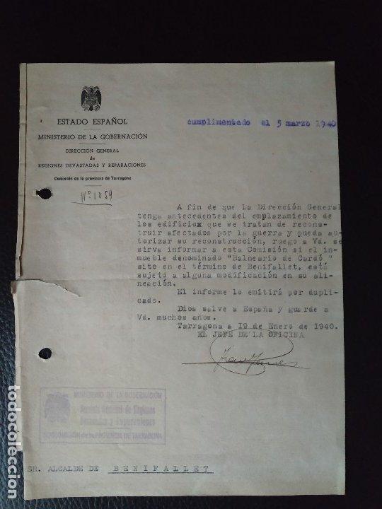 Documentos antiguos: 1940 GUERRA CIVIL REGIONES DEVASTADAS TARRAGONA BENIFALLET BALNEARIO DE CARDO. 3 DOCUMENTOS - Foto 2 - 179034440