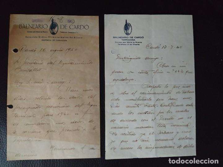 Documentos antiguos: 1940 GUERRA CIVIL REGIONES DEVASTADAS TARRAGONA BENIFALLET BALNEARIO DE CARDO. 3 DOCUMENTOS - Foto 3 - 179034440