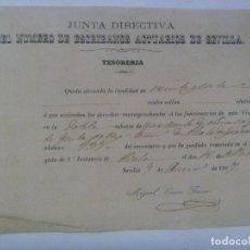 Documentos antiguos: ESCRIBANOS ACTUARIOS DE SEVILLA, SIGLO XIX: RECIBO SUBASTA DE OLIVAR ALCALA GUADAIRA. SEVILLA, 1867. Lote 179056162