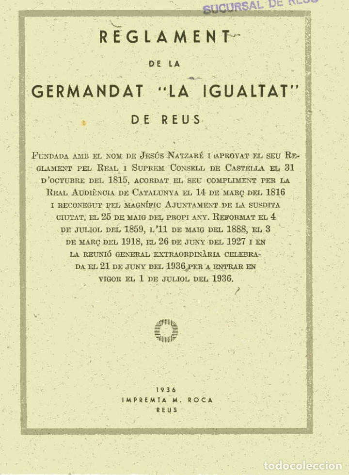 Documentos antiguos: REGLAMENT DE LA GERMANDAT LA IGUALTAT DE REUS - 1936 - Foto 1 - 179069692
