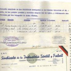 Documentos antiguos: GUERRA CIVIL- DOCUMENTOS PAGO COMISIONES SINDICATO DE LA INDUSTRIA TEXTIL Y FABRIL - ALCOY 1937. Lote 179080447