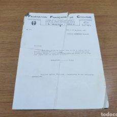 Documentos antiguos: CARTA DE LA FEDERACIÓN FRANCESA DE CICLISMO AL CORREDOR CICLISTA FERNANDO MANZANEQUE. Lote 179098835