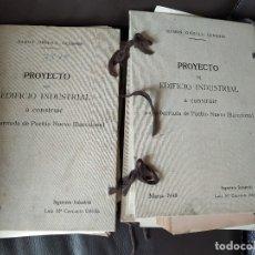 Documentos antiguos: 1946 PROYECTO EDIFICI INDUSTRIAL BARRIADA PUEBLO NUEVO POBLE NOU BARCELONA P. SALADRIGAS ASFALTEX SA. Lote 179102853