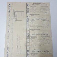 Documentos antiguos: IMPUESTO DE INQUILINATO AYUNTAMIENTO DE LORCA 1923. Lote 179108746