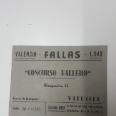 Documentos antiguos: REVISTA CONCURSO FALLERO FALLAS 1949. Lote 179109561