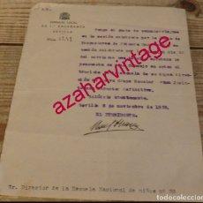 Documentos antiguos: SEVILLA, 1935, COMUNICACION TRASLADO DIRECTOR ESCUELAS DE SAN JACINTO, RARO . Lote 179177537