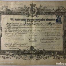 Documentos antiguos: TITULO DE PRACTICANTE. AÑO 1909. FACULTAD DE MEDICINA DE CADIZ. MEDIDAS APROX.: 31.5 X 43.5 CM. . Lote 179238160