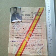 Documentos antiguos: TUBAL SALVOCONDUCTO ESPECIAL DE FRONTERAS 1954 SORA SAN QUIRICO DE BESORA B05. Lote 179240835