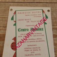 Documentos antiguos: BARCELONA, 1935, INVITACION BAILE DE MASCARAS HOTEL MAJESTIC, RARA. Lote 179240857