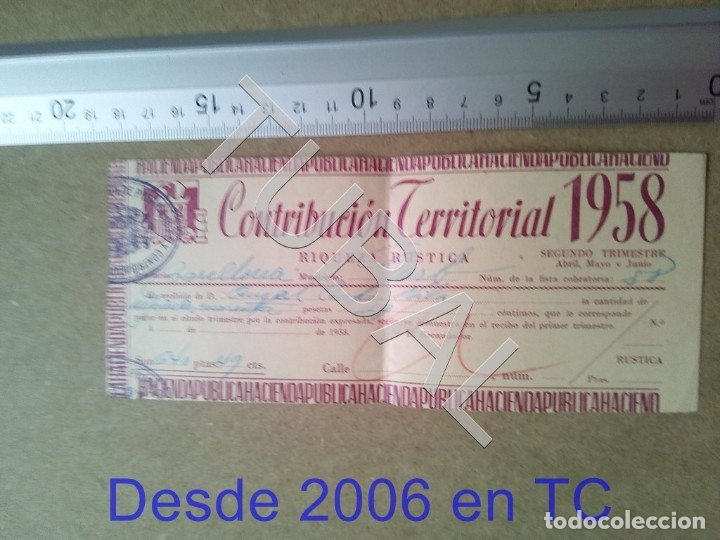 TUBAL GURB VICH 1958 CONTRIBUCION TERRITORIAL RIQUEZA RUSTICA ENVIO 70 CENT 2019 B05 (Coleccionismo - Documentos - Otros documentos)