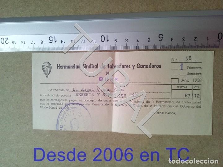 TUBAL GURB VICH 1958 HERMANDAD SINDICAL LABRADORES Y GANADEROS RECIBO ENVIO 70 CENT 2019 B05 (Coleccionismo - Documentos - Otros documentos)