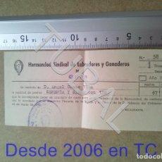 Documentos antiguos: TUBAL GURB VICH 1958 HERMANDAD SINDICAL LABRADORES Y GANADEROS RECIBO ENVIO 70 CENT 2019 B05. Lote 179243892