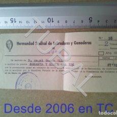 Documentos antiguos: TUBAL GURB VICH 1958 HERMANDAD SINDICAL LABRADORES Y GANADEROS RECIBO ENVIO 70 CENT 2019 B05. Lote 179243926
