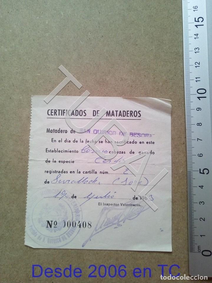 TUBAL SAN QUIRICO DE BESORA MATADERO RECIBO 1963 ENVIO 70 CENT 2019 B05 (Coleccionismo - Documentos - Otros documentos)