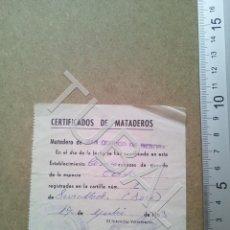 Documentos antiguos: TUBAL SAN QUIRICO DE BESORA MATADERO RECIBO 1963 ENVIO 70 CENT 2019 B05. Lote 179244041
