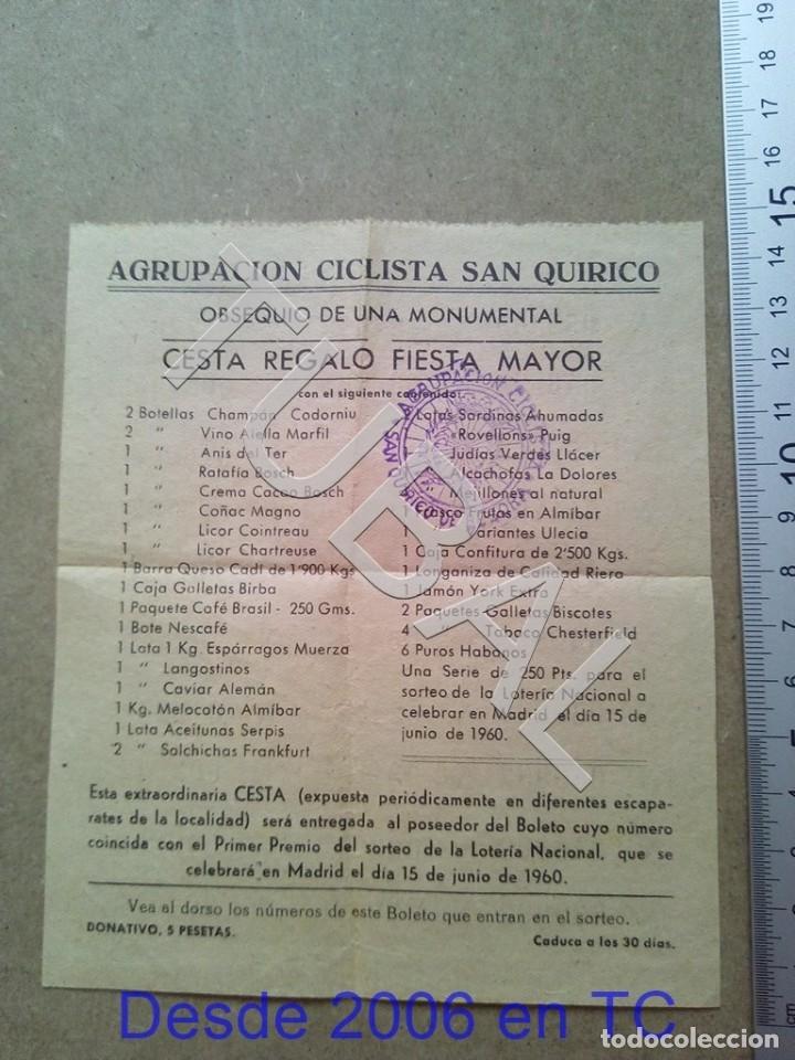 TUBAL SAN QUIRICO DE BESORA SORTEO CESTA BOLETO 1960 ENVIO 70 CENT 2019 B05 (Coleccionismo - Documentos - Otros documentos)