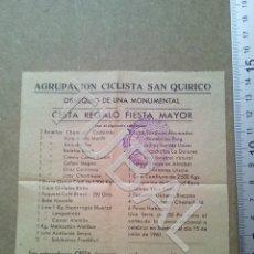 Documentos antiguos: TUBAL SAN QUIRICO DE BESORA SORTEO CESTA BOLETO 1960 ENVIO 70 CENT 2019 B05. Lote 179244167
